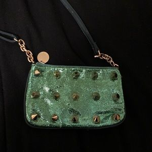 Green and Gold Studded Deux Lux Mini Purse